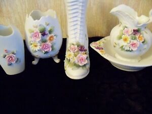 4 Lefton Matching Pieces / Pink Roses