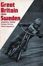 Speedway Programme>GREAT BRITAIN v SWEDEN June 1967 @ Wimbledon