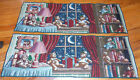 """2 Night Time Teddy Bears Table Tapestry Runners 36"""" X 12"""" Nice Condition"""
