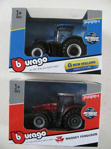 Bburago Tractors Die Cast Metal 1/43 1:43 Massey Ferguson New Holland Motorized