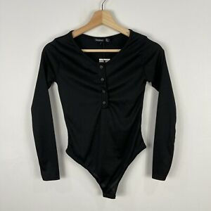 Boohoo Womens Bodysuit Size 8 Black Ribbed Long Sleeve 43.23
