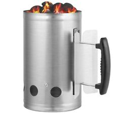 Charcoal Chimney Starter Rapid Fire Quick Lighter Steel Basket Bbq Grill Outdoor