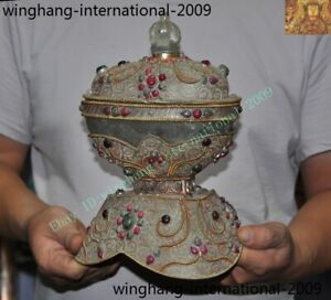 Tibet crystal silver Gilt Filigree inlay gem Buddhist bone relic Kapala Bowl cup