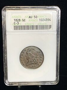 1828 Classic Head Half Cent 1/2C Coin - ANACS AU 50