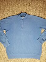Faconnable Sweater 1/4 Zip Pullover Blue 100% Cotton Men's Size Large