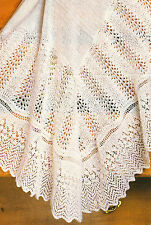 "Lace Fan & Zig Zag Border Baby Shawl 48"" x 48"" ~ Knitting Pattern 3 Ply"
