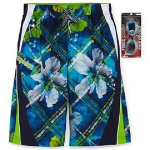 ZeroXposur Board Shorts Swim Trunks & Goggles ~ Size Med (10/12) ~ Blue & Green