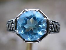 2.60ct FLAWLESS SWISS BLUE  TOPAZ RING, BLACK ANTIQUE FINISH w/DETAILED FILIGREE