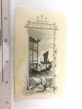 1870's-80's Fabulous Fully Engraved China Chinese Scene Junk Boat Man Crane F29