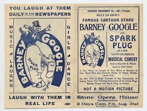 De Beck BARNEY GOOGLE & SPARK PLUG Stage Playbill, Opera House Binghamton, 1923