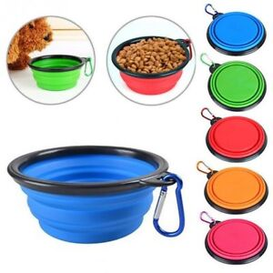 Pet Dog Cat Collapsible Feeding Bowl Travel Portable Silicone Water Dish Camping