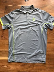 NWT Nike Tour Performance Golf Shirt Polo Gray with Volt Pradera CC Size M
