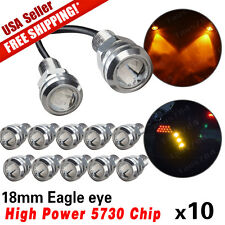 10 x 9W Motor Car 18mm 5730 LED Amber Yellow Eagle Eye Light DRL Fog Bulbs 12V