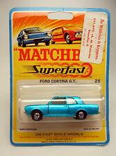 Matchbox SF Nr. 25A Ford Cortina blaumetallic auf früher SF-Blisterkarte
