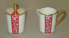 RARE DISCONTINUED LENOX CHINA FIRESONG PATTERN CREAM & COVERED SUGAR MINT