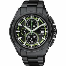 Citizen Eco Drive Chronograph Mens Watch 100M CA0275-55E Black metal UK Seller