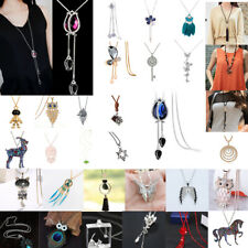 Women Vintage Necklace Exquisite Crystal Tassel Sweater Long Chain Jewelry Gifts