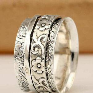 Solid 925 Sterling Silver Band & Spinner Meditation Ring Handmade  All Size B-74