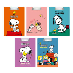 5pcs Peanuts Snoopy A4 Clip Board Hanging Hole Writing Drawing Menu Paper School