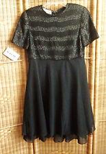 NWT Laurence Kazar Black Beaded Sequin Formal Dress Knee Lngth Chiffon Bottom M