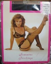 Vintage *Sensuous Stockings* Queen Size Black Fits 8 1/2-11 NIP