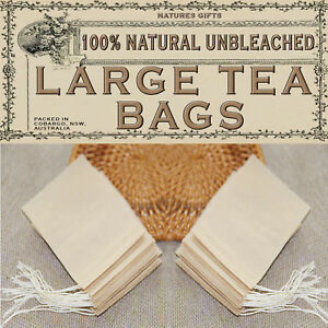 100% NATURAL UNBLEACHED FILTER PAPER TEA BAGS - LARGE - 80x100mm - 200pcs