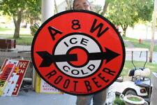 "Large A&W Root Beer Soda Pop Restaurant Gas Oil 30"" Embossed Metal Sign~Nice"