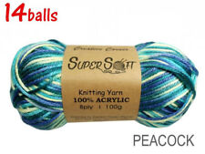 14balls x 100g Peacock Yarn 8ply Acrylic Knitting Crochet Bulk Buy CRA21448
