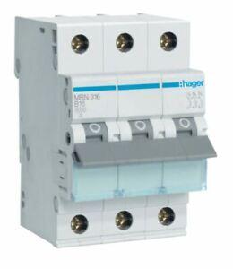Hager MBN316 Leitungsschutzschalter 3 polig 6kA B-Charakter 16A