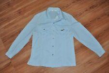 Vintage LEE M.R. Western Soft Cotton Pearl Snap Jean Jacket Baby Blue SZ LARGE