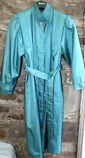 womans rubber backed shiny satin swishy torquoise pleated long mack 38 chest mac