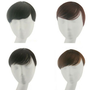 Real Human Hair Clip In Hairpiece Toupee Replacement Mono Base Topper Men/Women