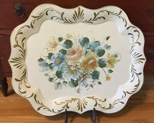 """Vtg NASHCO Metal 27"""" Tole Toleware Tray Floral Chippendale XL Cream Yellow Roses"""