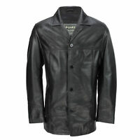 Mens Black Real Leather 3/4 Mid Length Vintage Jacket Smart Casual Classic Coat