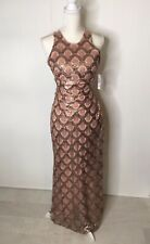Morgan & Co Womens Dress Size 5 / 6 Rose Gold Sequin Long Cocktail Prom Wedding