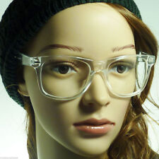 80s RETRO Transparent Crystal Men Women Nerd Geek Frame Clear Lens Eye Glasses