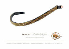 """Gold/Blk Luminocity Wave Crystal Dressage Bridle Browband Size: Full/Wrmbld. 17"""""""