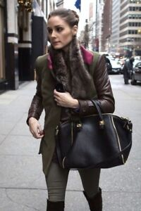 ZARA LEATHER BAG/ black w gold/ zipper & studs hardware/ Blogger favorite!!
