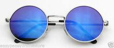 Lunettes de soleil bleu rond pour femme 100% UV