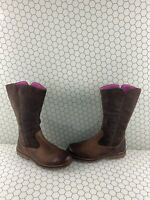 Timberland SKYYHAVEN Brown Suede/Leather Side Zip Mid Calf Boots Girl's Size 5.5