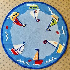 Pottery Barn Kids Round Wool Rug Sailboats Nautical Playroom Nursery Blue NEW