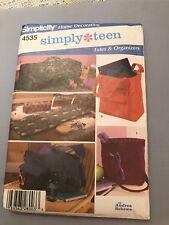 SIMPLICITY SIMPLY TEEN # 4535 TOTES & ORGANIZERS MATS MESSENGER BAG PATTERN