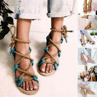 Women Bohemian Sandals Shoes Thong Flip Flops Flat T Strap Size Strappy Toe US D