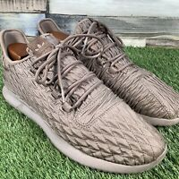 UK12 Adidas Tubular Quilted Brown Trainers - Rare Comfort - BB8974 - EU47.3