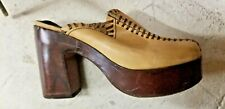 vintage 60s Sandals Clogs Mules tan & brown sz 5 Brazil