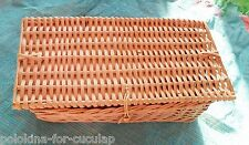 Vintage Charming Pink Rectangular Rattan BASKET w/ Lid, Creel? Great Condition