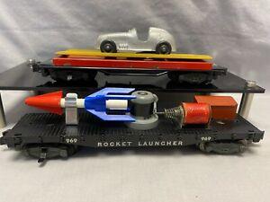 Vintage American Flyer S Scale 25045 Rocket Launcher & 915 Unloading Car - GC
