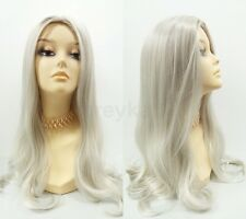 """White & Gray Long Straight Wig Witch Old Lady Vampiress Silvery Grey Color 22"""""""