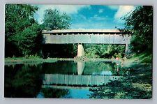 Ruddels Mill Kentucky KY Bourbon CO Covered Bridge Stone Creek Postcard 1950s