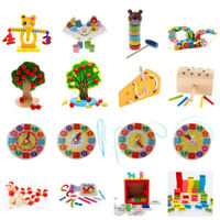 Wooden Montessori Toys Kids Early Educational Toys Set Learning Lacing/ Math